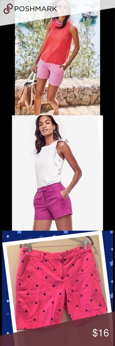 """⛵️🛳Sailboat Embroided Pink Shorts chic 🛥🚢 Time to shop for your spring summer trips and pay less🎀 it is in an excellent conditions.  I have posted other pictures to help you how it would looks.  Seam to seam 16"""" waist to bottom 16"""" perfect with one of my tops in my closet bundle and save.  Fits S-M.  Four pockets front zipper.  ❣️ I am open to all offers BUNDLE & send me your offer😍 BRITISH KHAKI Shorts Bermudas"""