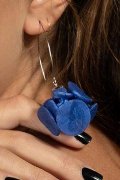Handmade Earrings, Unique Long Chunky Funky Dangle Earrings, Handmade Bohemian Blue Fabric Earrings For Women #fungistudio #fabricearrings #dangleearrings #LongEarrings #StatementEarrings #FunkyEarrings #Avantgardejewelry
