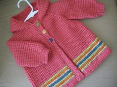 Crochet Baby Girl Sweater with Hood - MADE TO ORDER - Light Red - 6-12 Months in Tunisian Crochet - Handmade