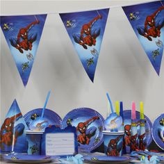 ... China party satin Suppliers 61pcs/lot cartoon masha bear 20 people use paper plate cup napkin banner kids birthday party decoration festival supplie  sc 1 th 225 & 70pcs/lot cartoon spiderman paper plate cup napkin banner kids ...