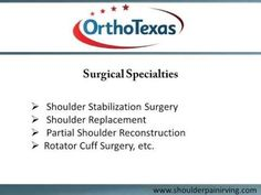 For effective treatment of acute or chronic shoulder conditions, visit OrthoTexas, Irving. The shoulder surgeons specialize in treating Arthritis, Biceps Tendon Tear, Rotator Cuff Injury, fractures, dislocations, SLAP Tears etc. To schedule an appointment with the shoulder surgeon in Irving, TX,