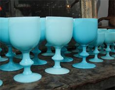 French Blue Opaline Glassware thumbnail 8