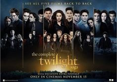 """Here's a killer new movie poster for the complete Twilight Saga. The upcoming film """"The Twilight Saga: Breaking Dawn - Part by director Bill Condon Saga Twilight, Twilight Breaking Dawn, Breaking Dawn Part 2, Twilight Poster, All Twilight Movies, Alice Twilight, Twilight Cast, Nikki Reed, Robert Pattinson"""