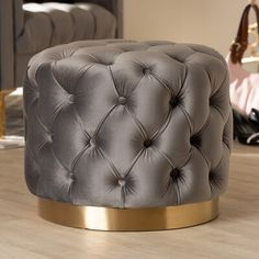 Baxton Studio Valeria Glam Gray Velvet Fabric Upholstered G old-Finished Button Tufted Ottoman Round Ottoman, Upholstered Ottoman, Ottoman Footrest, Pink Ottoman, Round Sofa, Tufted Chair, Ottoman Stool, Grey And Gold Bedroom, Rideaux Design