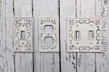 Heavy Cast Iron Light Switch Plate Cover antique finish. ornate victorian rustic