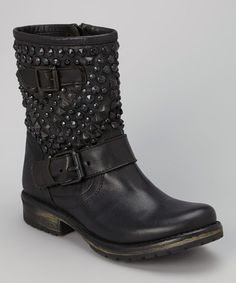 Look what I found on #zulily! Black & Gold Stud Marcoo Leather Boot by Steve Madden #zulilyfinds