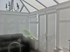Conservatory blinds in faux wood snow venetians 38 mm http://www.pandablinds.co.uk/Sheffield-blinds.html