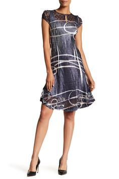 000dad517c8c Image of KOMAROV Cap Sleeve Keyhole Flared Dress Discount Price