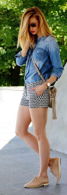 Geo Print Shorts by Beauty - Fashion - Shopping
