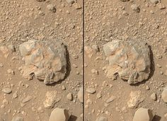 """NASA's Curiosity Mars rover used the camera on its arm on July 12, 2014, to catch the first images of sparks produced by the rover's laser being shot at a rock on Mars. The left image is from before the laser zapped this rock, called """"Nova."""" The spark is at the center of the right image."""