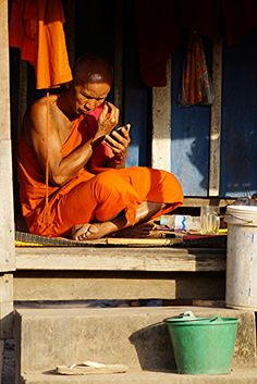 Clean shave . Khmer Monk . Cambodia