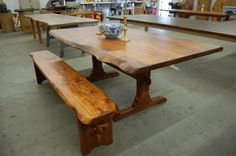 Live Edge Trestle Table With Bench. $1,475.00, Via Etsy. Trestle Table  Plans,