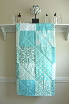 Crib Quilt - Pastel Mix of Aqua, White, and Ivory - Boy or Girl on Etsy, $98.00