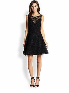 Alice + Olivia Natalia Scalloped Lace Fit-&-Flare Dress -- Perfect for the holidays!