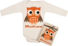 "Morado Designs ""Orange Owl"" Personalized Bodysuit"