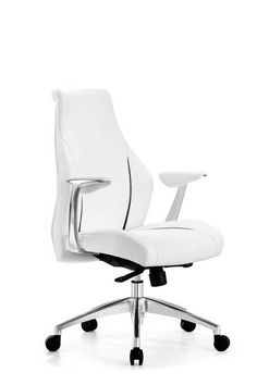 Stanford Low Back office chair, Black Faux Leather with white stripe detail…