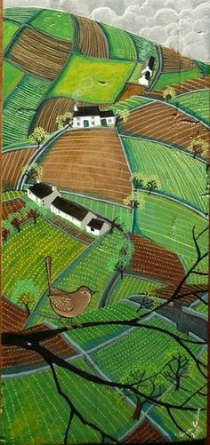 Valériane LeBlond is a french artist living in Wales. She paints on wood mainly and creates images of the rural landscape, coastal villages and their people at work.