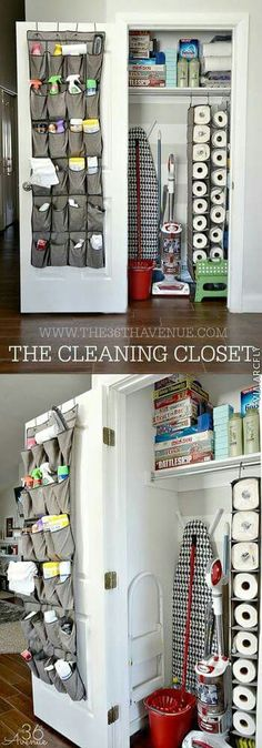 Best Organizing Ideas for the New Year - DIY Cleaning Closet Organization - Reso. - - Best Organizing Ideas for the New Year - DIY Cleaning Closet Organization - Resolutions for Getting Organized - DIY Organizing Projects for Home, Bedr. Organisation Hacks, Diy Organization, Organizing Ideas, Hall Closet Organization, Organization Ideas For The Home, Organizing Shoes, Organizing Small Homes, Organizing Cleaning Supplies, Organising Hacks