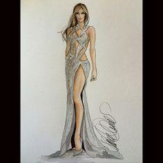 JLo in Charbel Zoe CoutureKaren Orr Illustration- Fashion.