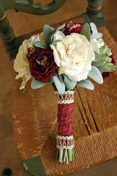 Burgundy and Cream Rustic Succulents by SouthernGirlWeddings, $145.00: