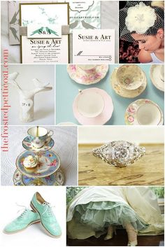 inspiration board bridal shower wedding tea party tiffany blue mint vintage invitation cake topper engagement ring groom white ivory