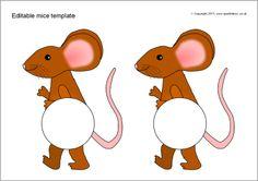 Editable mice templates (SB9232) - SparkleBox Word Templates, Free Teaching Resources, Microsoft Word, Mice, Preschool, Characters, Maths, Fun Things, Cake Decorating