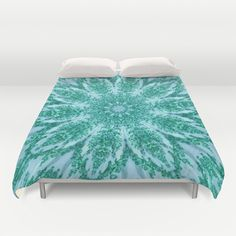 Vintage Doily Teal Green Kaleidoscope Duvet Cover by Sara Valor - $99.00