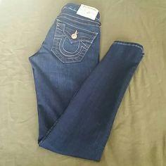 "TRUE RELIGION Serena dark wash skinny jeans Great condition ....29 "" inseam True Religion Jeans Skinny"