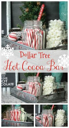 How to make a hot cocoa bar from Dollar Tree items! You don't have to be ext… How to make a hot cocoa bar from Dollar Tree items! You don't have to be extravagant to have a beautiful little set up on the cheap! Check it out! Fun Christmas Party Ideas, Decoration Christmas, Christmas Brunch, Christmas Goodies, Christmas Treats, Christmas Holidays, Christmas Parties, Christmas Dinner Ideas Family, Winter Parties