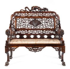 French carved beech settle, in the Chinoiserie style, attributed to Gabriel Viardot, 19th century