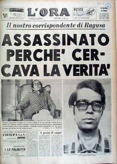 Prima pagina del quotidiano L'Ora di Palermo dedicata alla morte del suo corrispondente da Ragusa Giovanni Spampinato