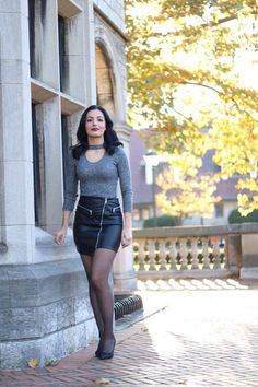 www.streetstylecity.blogspot.com Fashion inspired by the people in the street ootd look outfit sexy heels legs woman girl skirt miniskirt leather pantyhose