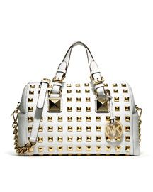 99aad84a8df1 Michael Kors Medium Grayson Studded Satchel Handbags Michael Kors