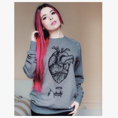 womens SWEATER anatomical heart hot air balloon UNISEX sweatshirt womans alternative clothing pullover romantic gift steampunk long sleeve