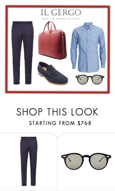 """""""Loafer Nemo Reversed Blue / Bond Red"""" by paolo-rossi on Polyvore featuring Alexander McQueen, Thom Browne, men's fashion e menswear"""