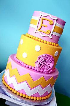 Pink and Yellow Cake by Simply Sweet Creations (www.simplysweetonline.com)