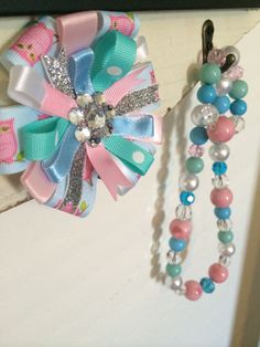 Shabby Chic Pink Blue Mint and Pearl Necklace by sewchicandvintage