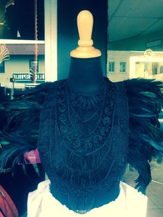 Dramatic Black Feather Corset Top by buythedress on Etsy