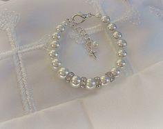 Baptism-Christening-First Communion Jewelry-Baptism-Cross Baby Bracelet-Baby Keepsake. $19.99, via Etsy.