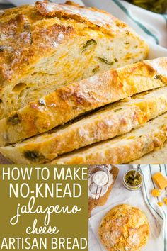 This Easy No Knead Jalapeno Cheese Artisan Bread is the BEST savoury bread for sandwiches! It's packed with spicy pickled jalapeños and real cheddar cheese! Artisan Bread Recipes, Dutch Oven Recipes, Bread Machine Recipes, Pastry Recipes, Cooking Recipes, Ciabatta Bread Recipe, Best Bread Recipe, Jalapeno Cheese Bread, Cheddar Cheese