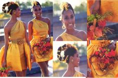 Coming to America Inspired - African Style Wedding - Essence Magazine [my personal Collection - my mother found a pattern and we made this for the Hostess at a Wedding I did] No link available. African Wedding Theme, African Theme, African Wedding Dress, African Style, African Fashion, Ethnic Wedding, Bridesmaid Flowers, Brides And Bridesmaids, African American Weddings