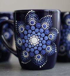 Set of 4 Hand Painted Dot Mandala Coffee Mugs