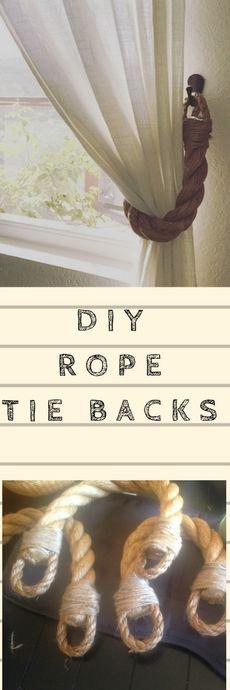 Diy Rustic Rope Tie backs curtain tie back tutorial.