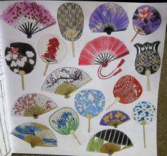 Zoe De Las Cases Secret Japan Colouring Book, Japanese Fans, Sensu, Uchiwa, by Michelle