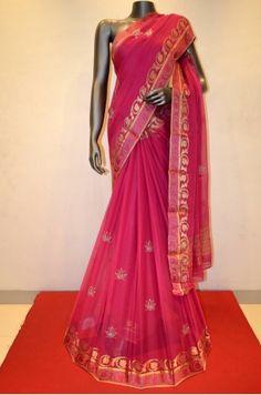 Gorgeous Pink Pure Silk Chiffon Saree   Product Code: GSJD01543
