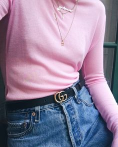 Fanny Ekstrand wearing pink rib long sleeve t-shirt and Gucci belt-