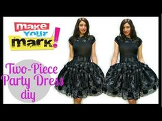 How to: Party Dress DIY - YouTube    Great tutorial of how to easily make a cute skirt and embellish a shirt to go with it.