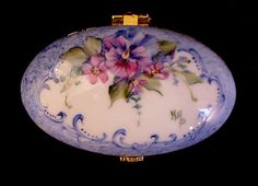 SOLD....Signed Hand Painted Hinged Floral Design with Pansy and Forget-Me-Nots Porcelain China Ring Jewelry Trinket Box - Can be personalized $25.95 + $5.95 shipping