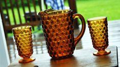 Vintage Pitcher W/Glasses Set-Tea Pitcher-Water Pitcher Vintage Set-Golden Amber-Depression Glass Pattern-Diamond Point Cube Glass