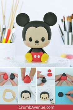 Mickey Mouse Cake Topper, Mickey Cakes, Fondant Bow, Fondant Toppers, Fondant Flowers, Fondant Cakes, Fondant Figures Tutorial, Cake Topper Tutorial, Cute Polymer Clay
